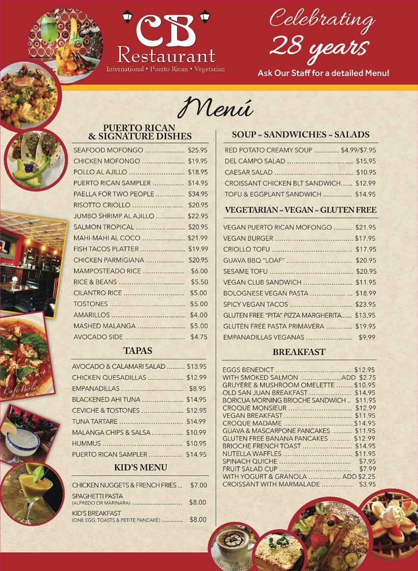 Food and Beverage Menu of Puerto Rico, Caribbean